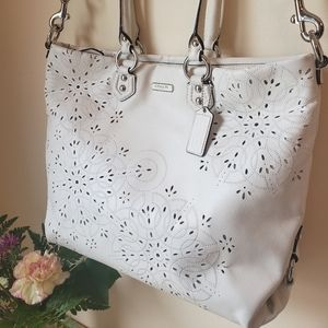 Coach Embroidered & Laser Cut Out Leather purse